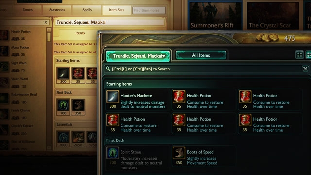League of Legends: Customize in-game item sets