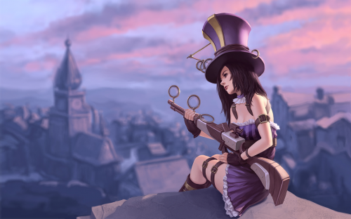 purple-league-of-legends-caitlyn-the-sheriff-of-piltover-tsuaii-1920x1200-hd-wallpaper