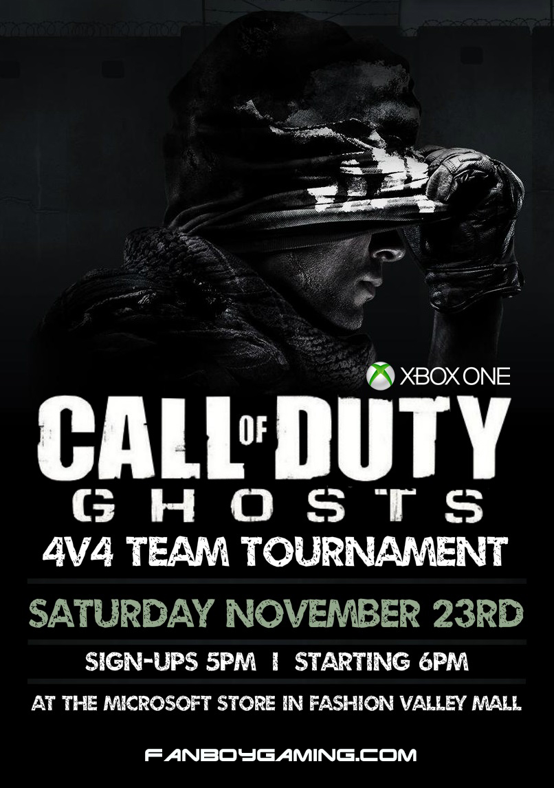 Join us this Saturday for our 4v4 Call of Duty Ghosts Team