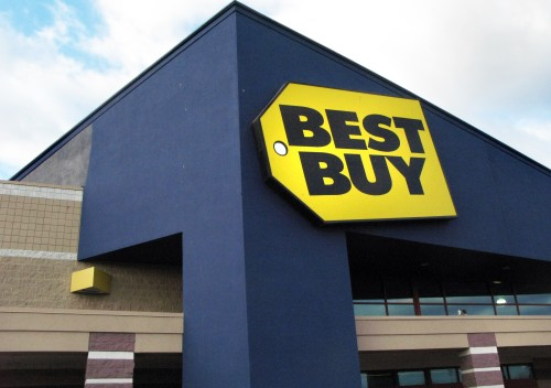 The Best Buy store in Danvers, Mass. Tuesday, March 24, 2009. Best Buy, the world's largest consumer electronics retailer, said Thursday, fourth-quarter profit fell 23 percent on some charges but adjusted results beat analysts' estimates as sales climbed on new store openings. (AP Photo/Elise Amendola)